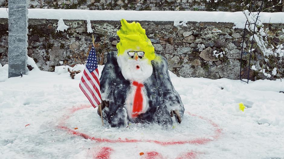 Trump as a snowman artistic performance at CasaGalleria in Rovio Switzerland