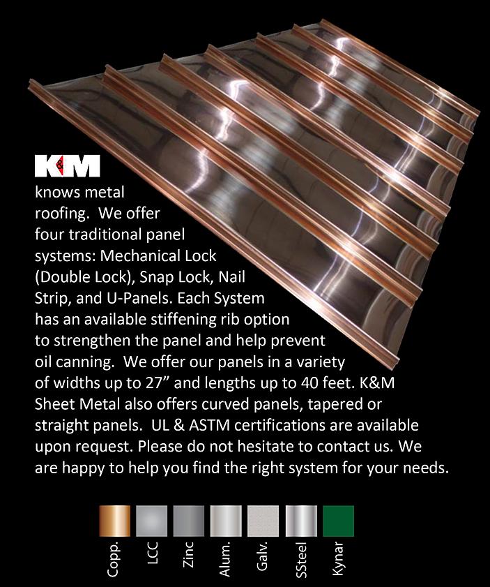 Metal Roof Panels K Amp M Sheet Metal Copper Zinc Aluminum