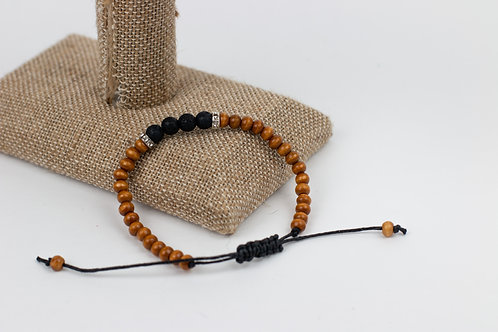 Small Wood and Lava Beaded Bracelets