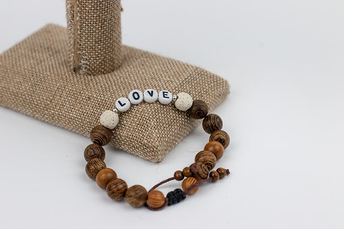 """Love"" Lava and Lettered Beaded Bracelets"