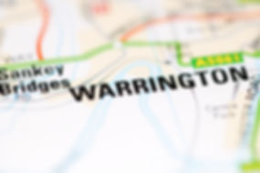 Warrington on a geographical map of UK.j