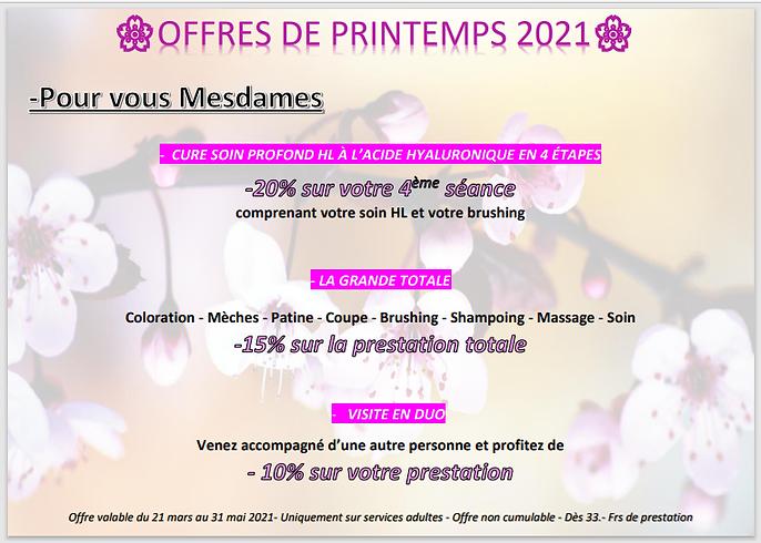 OFFRES DE PRINTEMEPS 2021 POUR VOUS MESD