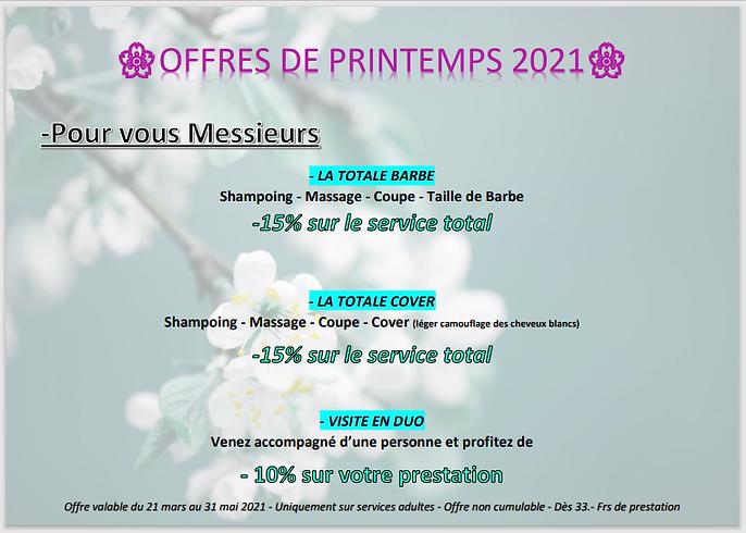OFFRES DE PRINTEMEPS 2021 POUR VOUS MESS