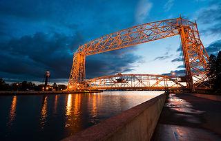 Aerial Lift Bridge at Sunset in Duluth M