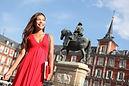 Woman tourist walking on Plaza Mayor Mad