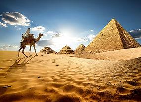Bedouin on camel near pyramids shutterst