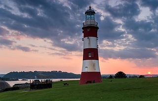 The lighthouse at the Hoe in Plymouth sh