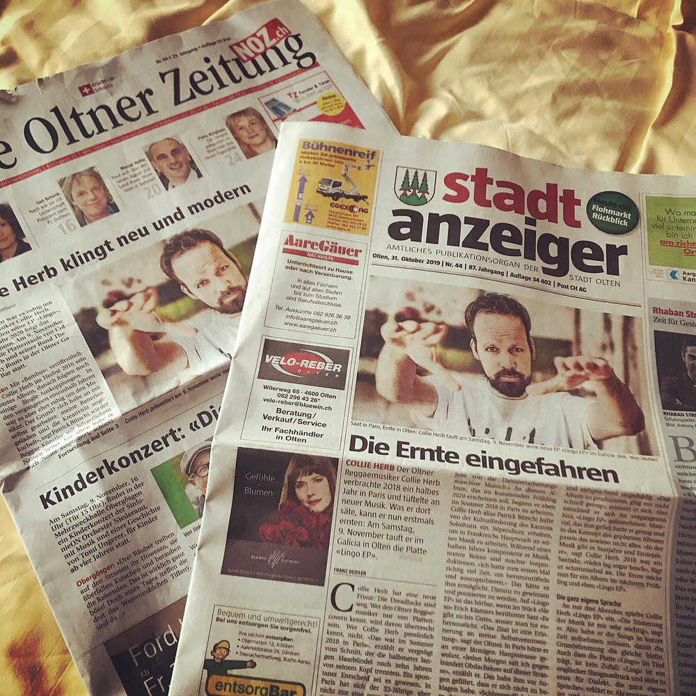 Collie Herb - Lingo EP in den lokalen Zeitungen auf der Frontseite.
