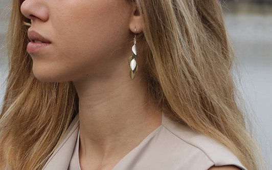 Long Earrings - Silver and Bronze leaf