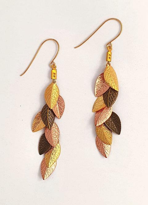3 color leaf Long Earrings - Gold, Rose gold & Bronze