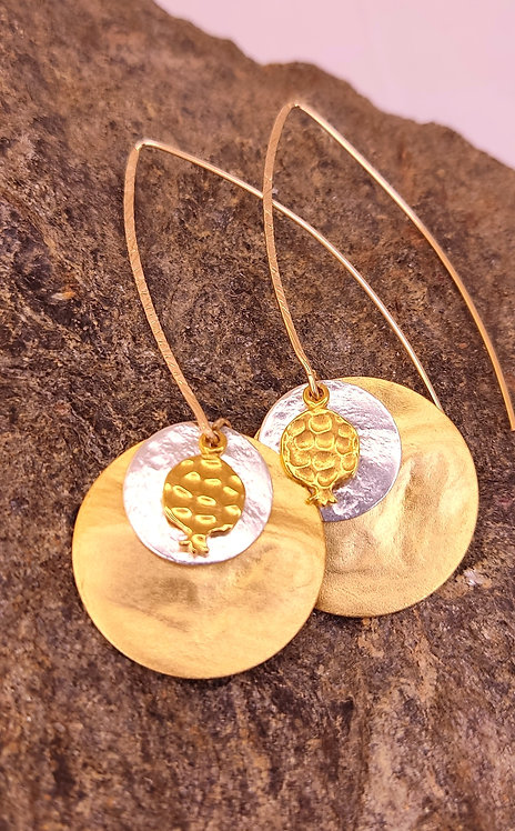 Gold double disc pomegranate earrings