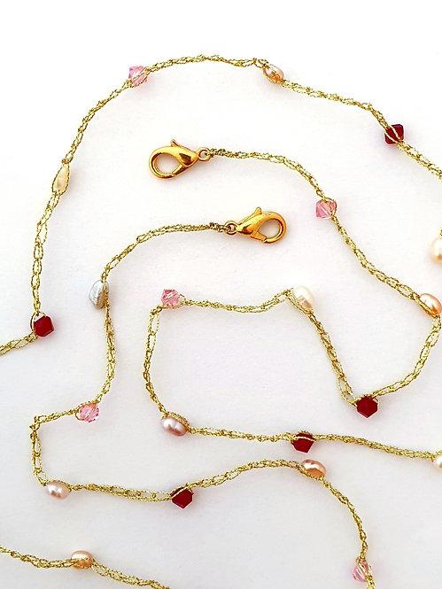 Face mask Holder - Warm color Freshwater pearls, 2 color Swarovski crystals