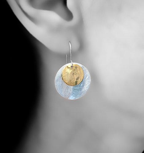 Double disc earrings - 30mm -13mm
