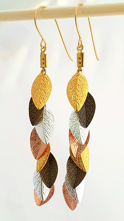 4 color leaf Long Earrings - Gold, Bronze, Silver, Rose gold