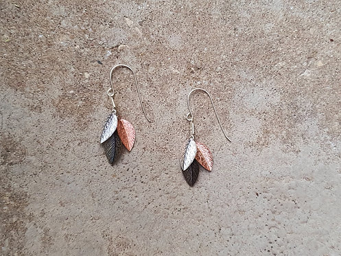 Short leaf Earrings - Silver, Rose Gold, Bronze
