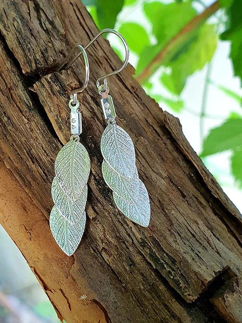 Short Earrings - Silver leaf (flat)