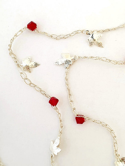 White color pearls & Red Swarovski Crystals with Silver charms