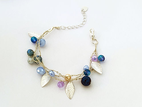 Silk Bracelets - Silver blue & Soft violet