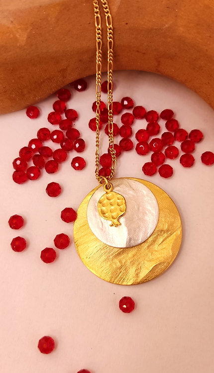 Double Disc Gold Pomegranate Necklace