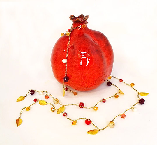 Gold Silk Necklace - Red crystals & freshwater pearls