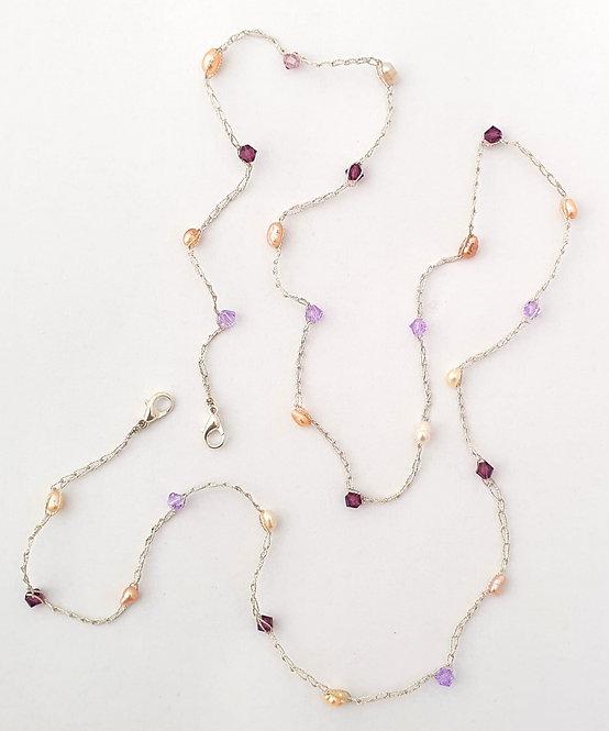 Face mask Holder - Warm color pearls & Swarovski Crystals in 2 colors