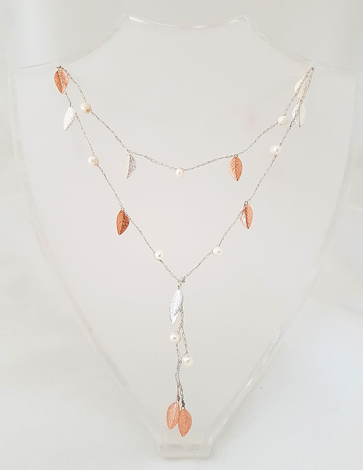 Open Silk Necklace - Rose Gold & Silver leaf with pearl