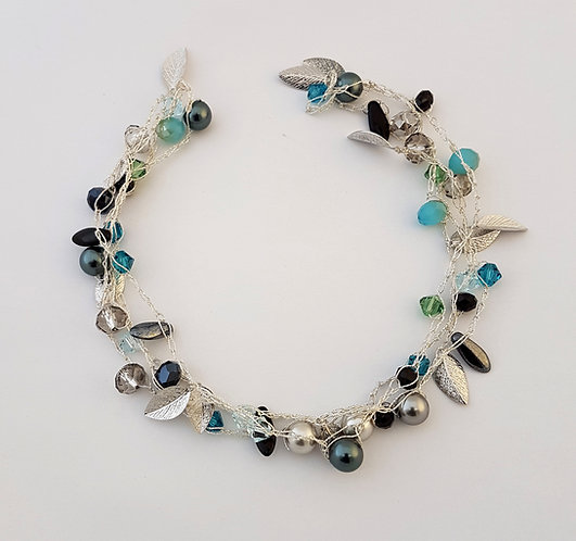 Silver Silk Necklace - Soft silvery blue blend
