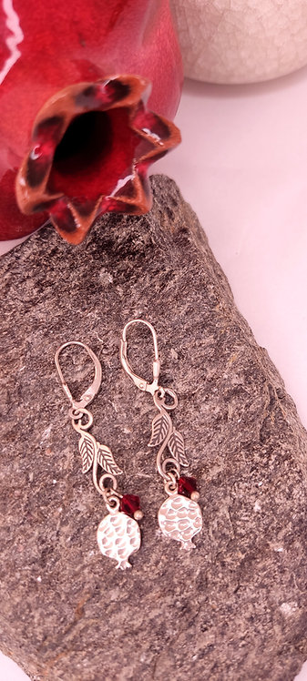 Silver pomegranate earring (Silver Shaped ornament leaf)