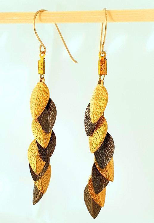 Long Earrings - Gold & Bronze leaf