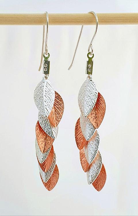 Long Earrings - Silver & Rose Gold leaf
