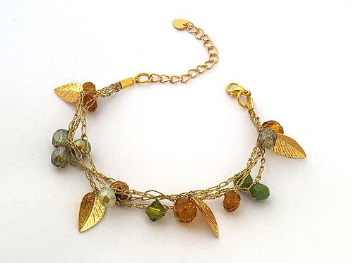 Silk Bracelets - Dark amber and green mix