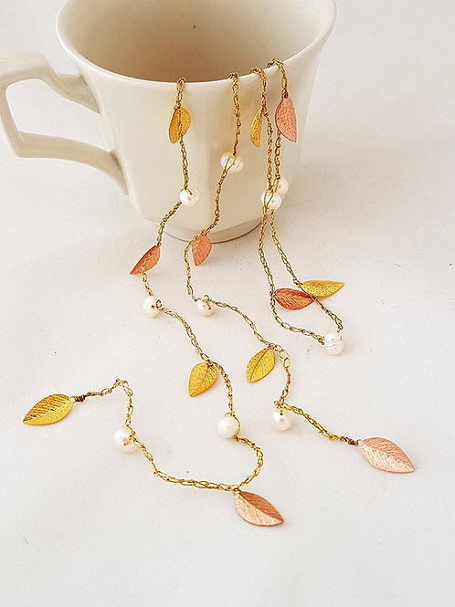 Open Silk Necklace - Gold & Rose Gold leaf with pearl