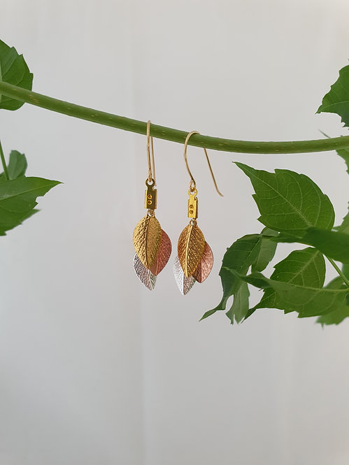 Short leaf Earrings - Gold, Rose gold, Silver