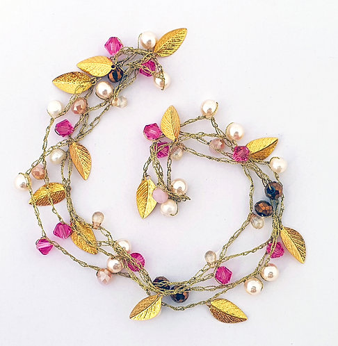 Gold Silk Necklace - Royal pink Mix-  crystals & pearls
