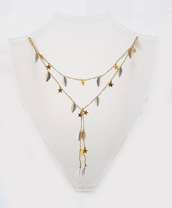 Gold Silk Necklace - Gold stars & Silver leaves