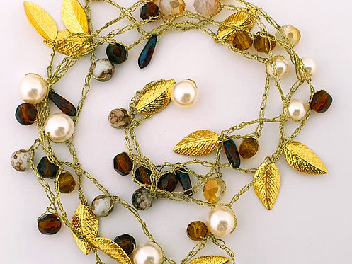 Gold Silk Necklace - Pearls & brown crystals with gold-plated leaves