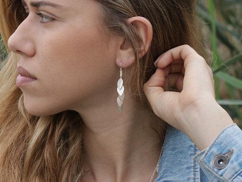 Long Earrings - Silver leaf (flat)