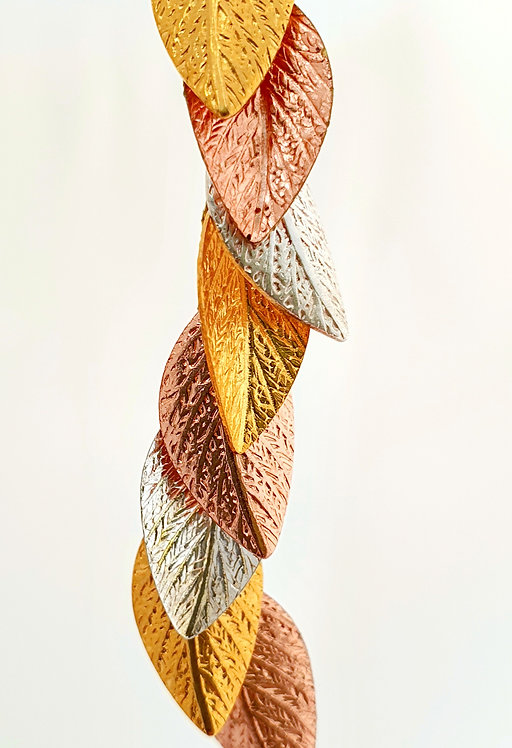 3 color leaf Long Earrings- Silver, Gold & Rose gold
