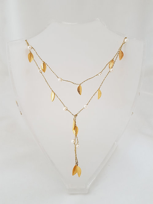 Open Silk Necklace - Gold leaf & pearl