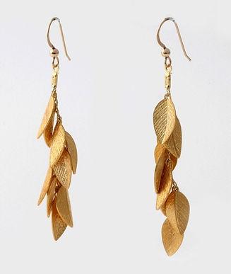 Long gold leaf earrings