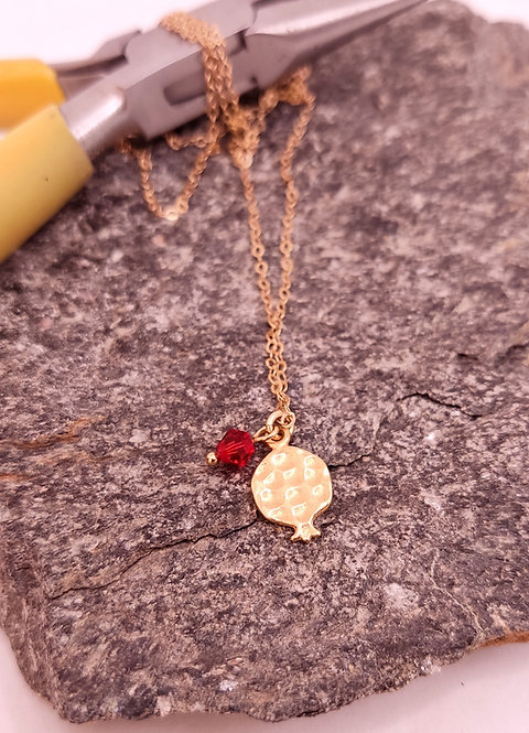 Small gold pomegranate necklace