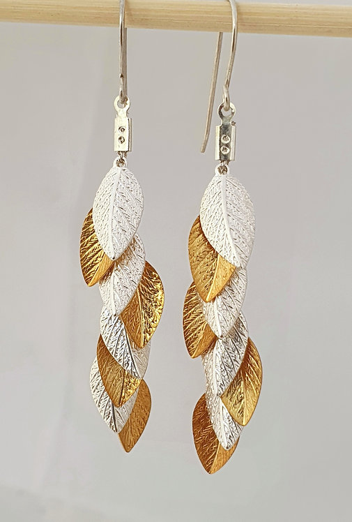 Long Earrings - Silver and Gold leaf