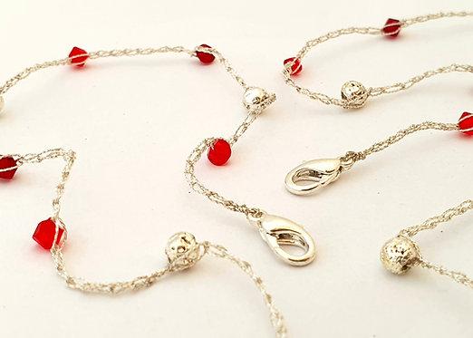 Red Swarovski Crystals & Silver lava stones