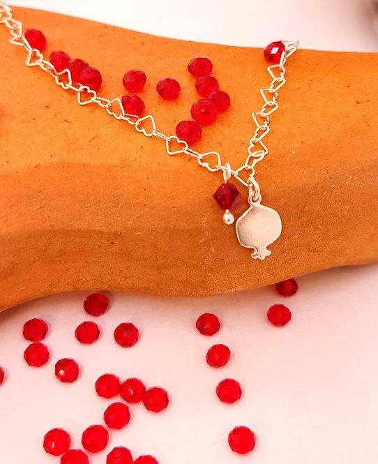 Small silver pomegranate bracelet