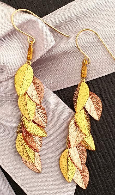 Long Earrings - Gold & Rose Gold leaf