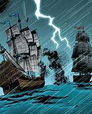 Blowback - Spanish Galleon, Santissima Madre, under attack.