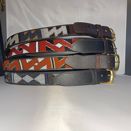 Small Maasai Beaded Leather Belt 85cm