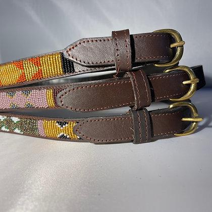 Large Maasai Beaded Leather Belt 95cm
