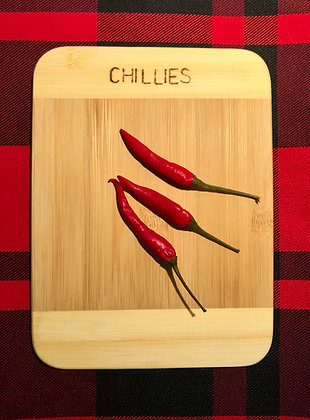 Small Chopping Board - Chillies   Herbs   Lemons and Limes