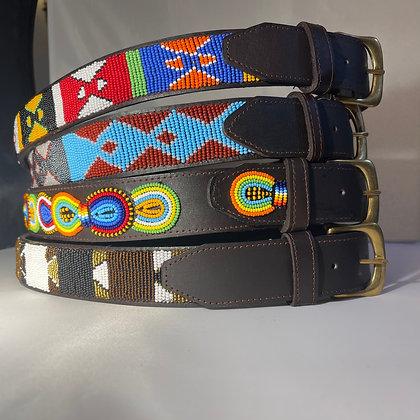 Medium Maasai Beaded Leather Belt 90cm